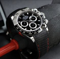The black leather racing strap is my favorite strap option for the black ceramic Daytona. What do you think? | Photo credit @rolexdiver 📸 . Rolex Tudor, Swiss Made Watches, Sports Models, Rolex Daytona, Rolex Submariner, Watch Bands, Black Leather, Photo Credit, Racing