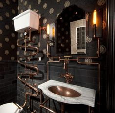 High tank toilet bathroom eclectic with subway tile copper sink