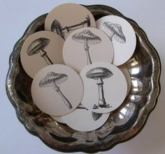 Mushroom Tags Round Gift Tags Set of 10 by PetitePaperie on Etsy, $2.00