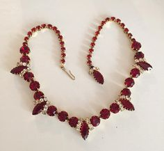 Juliana Red Glass Necklace, with clear Sparkling Rhinestones, Victorian Revival 1960s Vintage Jewelry SALE