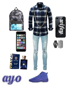 """""""Ayo"""" by savagequeen42 ❤ liked on Polyvore featuring AMIRI, NIKE, Bianca Pratt, Native Union, Billabong, Off-White, Versace, men's fashion and menswear"""