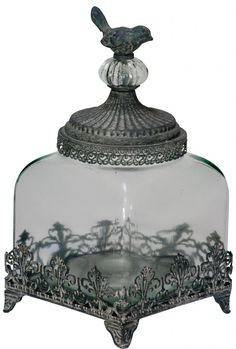 Charming Antique Style Shabby Chic Glass Storage Jar With Metal Bird a heavy glass storage jar for the shabby chic and vintage home French Style Furniture, Glass Storage Jars, Jar Storage, Glass Storage, Vintage Home Decor, Glass Jars, Vintage Pressed Glass, Shabby Chic Accessories, Shabby Chic