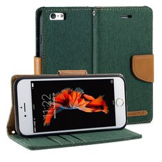 GMYLE PU Leather Fabric Wallet Case for iPhone 6 / 6S - Dark Green / Brown. Magnetic closure flap - Protects your device from accidental hard knocks and scratches. Wallet case design - Build in Card Slots and cash compartment. Durable - Not easily fade in color, high quality. Slim design with stand function. Plug your charger, cable or headset without removing the case.