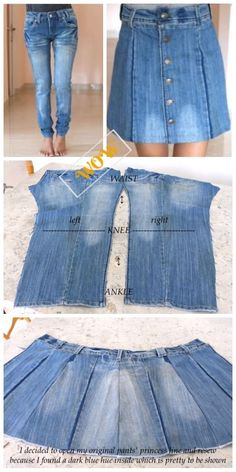 Stylish Ways to Alter Old Jeans into New Fashion- DIY Turn Jean into Button Front Denim Skirt Tutorial - WOW! Thumbs Up : Stylish Ways to Alter Old Jeans into New Fashion- DIY Turn Jean into Button Front Denim Skirt Tutorial Sewing Jeans, Sewing Clothes, Skirt Sewing, Artisanats Denim, Denim Purse, Jean Diy, Diy Old Jeans, Diy With Jeans, Jeans Refashion