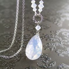 Swarovski Crystal White Opal Necklace Sterling Silver Chain Teardrop Necklace October Birthstone Milky Opal Crystal Pendant Necklace