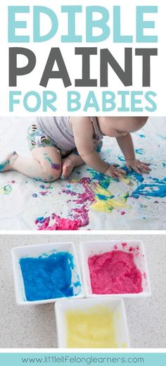 Painting for Babies Edible Painting for Babies simple and easy paint recipe for sensory play play ideas for babies and toddlers allergy friendly recipe outside play. Baby Sensory Play, Baby Play, Edible Sensory Play, Sensory Play Recipes, Sensory Play For Toddlers, Baby Sensory Ideas 3 Months, Reggio Emilia, Baby Crafts, Toddler Crafts