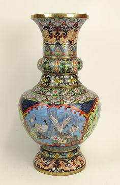 -Large Well Done Mid-Century Chinese Cloisonne Urn. Colorful Busy Motif featuring Cranes and Flowers.