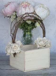 Flower Girl Basket Shabby Chic Wedding Decor (P10377) by braggingbags on Etsy https://www.etsy.com/listing/101603618/flower-girl-basket-shabby-chic-wedding