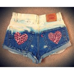 Distressed, destroyed high waisted denim grunge shorts, with leopard patches ($21) found on Polyvore