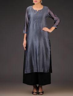 Buy Charcoal Grey Chanderi Round Neck Kurta Apparel Tunics & Kurtas Charm Colorful and Chikankari Dupattas Online at Jaypore.com