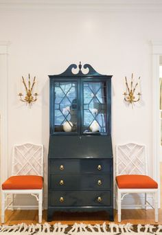 Vintage secretary painted a Dark navy lacquer accented with gold pulls