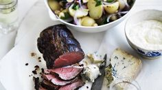 Neil Perry's roast beef, gorgonzola and potato salad.