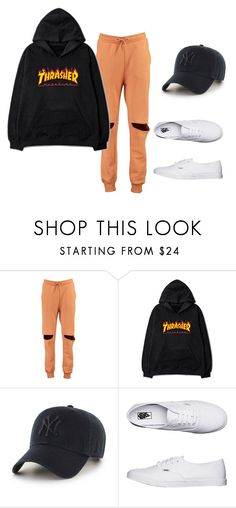 """""""beautiful perfect, immaculate who*e"""" by jasmine-quarry ❤ liked on Polyvore featuring Boohoo, '47 Brand, Vans, vans, jumper, snapback, sweaterweather and Joggers"""