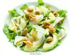 Sałatka z awokado, wędzoną rybą i oliwkami Halibut, Winter Food, Potato Salad, Salads, Potatoes, Yummy Food, Healthy Recipes, Cheese, Ethnic Recipes