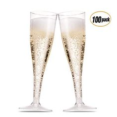 Premium Hard Plastic Two Piece 4-Ounce Champagne Glasses l Crystal Clear Champagne Coupe Flute Perfect for Wedding Toasting Mimosas Moscato Cocktails Fig /& Leaf 60 Count