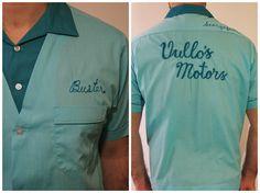 1950s / 1960s Bowling Shirt / Nat Nast Creation / Mint, Teal Mens Shirt / Size L via Etsy