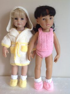 """Dolls Fashion Knits; Dressing Gown, Vest, Knickers and Slipper socks for 18"""" doll. PDF Instant download"""