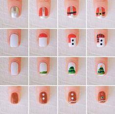 Trendy nails art easy christmas xmasnailart - Home Xmas Nail Art, Cute Christmas Nails, Christmas Nail Art Designs, Winter Nail Designs, Simple Nail Designs, Nail Art Diy, Holiday Nails, Diy Nails, Christmas Art