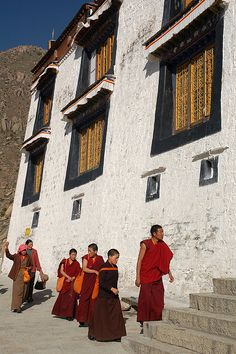Monks at Drepung Monastery, near Lhasa, Tibet* Arielle Gabriel writes about miracles and travel in The Goddess of Mercy & The Dept of Miracles also free China toys and paper dolls at The China Adventures of Arielle Gabriel *