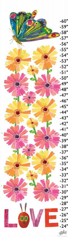 Butterflies Love Flowers - Eric Carle. Height chart for a child's bedroom. Artistic butterfly and flower on a growth chart.