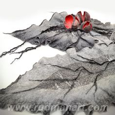Felted scarf 3D ART made from wool and silk Gray by RudmanArt, $169.00