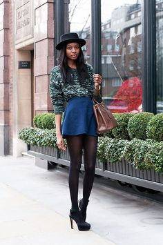 Beyond Retro Hat, Asos Jumper, American Apparel Skirt, Zara Heels | Chelsea, London (by Natasha N) | LOOKBOOK.nu