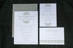 Distinctive Damask Wedding Invitation Sample in Green, Gray and Black. $5.00, via Etsy.