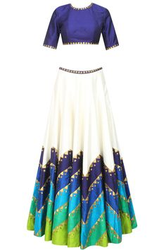 Priyal Prakash presents Ivory and shades of blue and green sequins embroidered lehenga set available only at Pernia's Pop Up Shop. Indian Fashion Dresses, Dress Indian Style, Indian Outfits, Indian Clothes, Choli Designs, Lehenga Designs, Blouse Designs, Indian Attire, Indian Wear