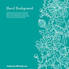 Desenho fundo floral Vetor grátis