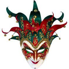 maschere veneziane | Maschera Veneziana JOLLY GRANDE ROSSO GLITTER