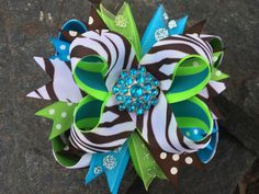 Brown Leopard & Aqua Bling Boutique Hairbow on Etsy, $8.99