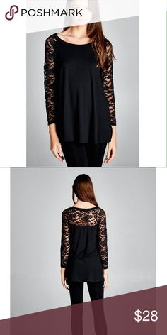 Black Top with Lace Shoulders and Sleeves. 95% Rayon 5% Spandex / 90% Nylon 10% Spandex. No trades. Tops