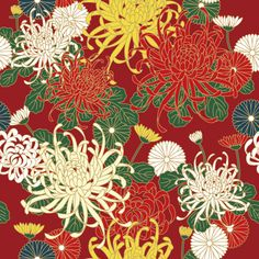 Chrysanthemum 菊 KIKU pattern om washi. Japanese Chrysanthemum, Japanese Flowers, Japanese Paper, Japanese Fabric, Textile Patterns, Textile Prints, Print Patterns, Japanese Art Prints, Japanese Textiles