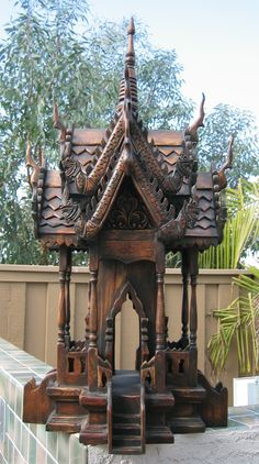 Thai Spirit House...brought two of these back from Thailand.  Can't wait to finish working on the landscaping so we can find the perfect placement for these.