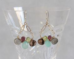 Chalcedony Garnet Labradorite Peridot Smoky Quartz - Multi Gem Drop Earrings, Sterling Silver Wire Wrap Woven, Handmade Gemstone Jewelry by AdornmentsAndFrills on Etsy