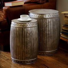 Set of 2 Natural Steel Fluted Round Barrels (India)