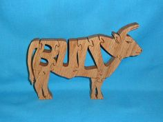 deer puzzles for scroll saw | Bull Handmade Wooden Scroll Saw Puzzle