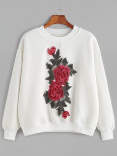 White Drop Shoulder Flower Embroidered Sweatshirt