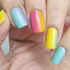 Rainbow ombre nails by @shepaintedherdreams!
