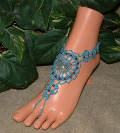 Crochet Blue Butterfly Barefoot Sandal, Wedding Anklet, Beach Jewelry, Beach Sandal, Charms, Beaded, Foot Chains