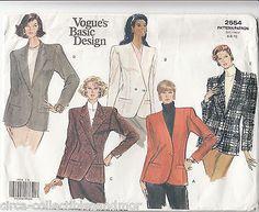 Jacket Fitted Lined Vogue Sew Pattern 2554 Wardrobe Basic Design Sz 6-10 Uncut