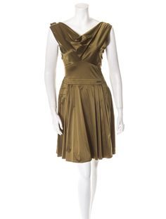 John Galliano Dress  Green sleeveless dress with cowl neckline, ruffles at back and side zip closure.