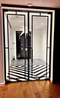 Drzwi Loftowe - Industrialne | Drzwi wewnętrzne - zabudowy szklane - drzwi loft - podłogi Mirror Door, Steel Doors, Diy Home Crafts, Glass Door, Oversized Mirror, Loft, Interior Design, House, Furniture