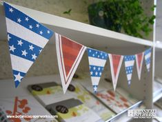 A free printable to help you with decorating for Independence Day. This free flag bunting is easy and fun to do. It's even better when printed on seed paper, that way you can send your guests home with a eco-friendly favor that will grow wildflowers.