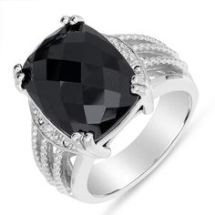 Amazing Women's Black Onyx Fashion Ring with Diamond Accent in Sterling Silver, Size 7by Nissoni Jewelry - See more at: http://blackdiamondgemstone.com/jewelry/rings/statement/amazing-women39s-black-onyx-fashion-ring-with-diamond-accent-in-sterling-silver-size-7-com/#sthash.XakzW1iK.dpuf