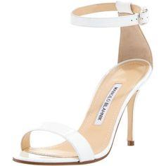 5e9ad4f51dec3 Chaos Patent Ankle-Strap Sandal, White by Manolo Blahnik at Bergdorf  Goodman.