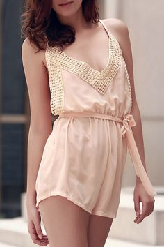 Lace Spliced Cami Backless Playsuit #CLICK! #clothing, #shoes, #jewelry, #women, #men, #hats
