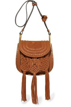 Chloé - Hudson Small Whipstitched Leather And Suede Shoulder Bag - Tan - one size Suede Handbags, Brown Leather Handbags, Tan Leather, Chloe Hudson, Chloe Purses, Boho Bags, Brown Purses, Leather Shoulder Bag, Shoulder Bags