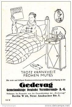 Original-Werbung/ Anzeige 1928 - GEDEVAG KRANKENVERSICHERUNG MIT GEWINNBETEILIGUNG - ca. 110 x 155 mm