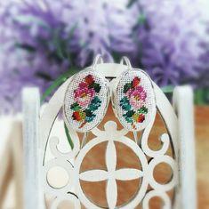 Roses silver earrings Ag 925, Oval earrings, Embroidered earrings, Roses earrings, Anniversary gift for girlfriend, Petit point earrings by SlivkAtelier on Etsy